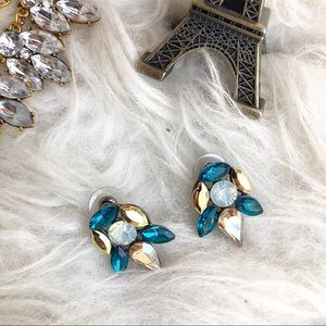 Jewelry - Statement rhinestone stud earrings blue and gold